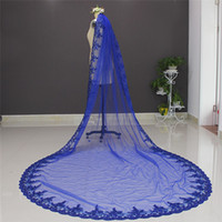 Real Image 3 Meters One Layer Bling Sequins Lace Edge Blue Bridal Veil Colorful Wedding Veil with Comb