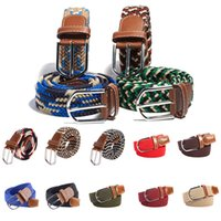 Wholesale Plain Metal Belt Buckles - Wholesale- hot sale Men's Women's Canvas Plain Webbing Metal Buckle Woven Stretch Waist Belt Multi Colors