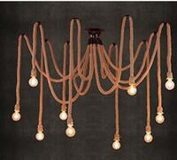 Wholesale Diy Coffee Lamp - E27 Rope Edison Down Light Bulbs Vintage Spider Net Chandeliers Ceiling Pendant Creative Bar Lamp DIY Coffee Fairy Light Weave Yarn
