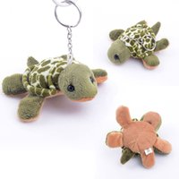Wholesale Stuffed Green Turtle - Wholesale-Lovely Plush Sea Turtle with Chains for keys Stuffed Cartoon Animal Turtle Collectible Girls Chain Bag Dolls Toys