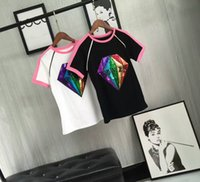 Wholesale Diamond Tshirts - 017 new arrival summer shinning diamond tshirt black tshirts femme tee bee top women white shirt