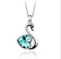 Wholesale swan diamond pendant for sale - Crystal Pendant Necklace Fashion Flash Drilling Pendant Necklace Love Swan Diamond Blue Fashion Jewelry Ornament for Lady