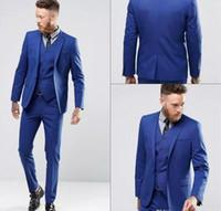 Wholesale gentle white - Blue Color Gentle Man Tuxedo Suits Real Image Handsome Groom Suits One Button Slim Fit Wedding Suit For Men (Jacket+Pants+Vest)