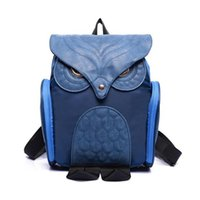 Wholesale Famous Owl - Wholesale- Women Backpacks 2016 Famous Brand Nylon PU Leather Patchwork Cute Owl Shape Gilrs Female School Bags Ladies Backpack