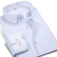 Wholesale British Dress Shirts - Wholesale- 2016 Autumn New Business Men's Striped Dress Shirts Patchwork Long Sleeve British Style Brand White Collar Men Casual Shirts