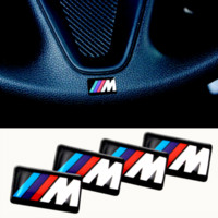 Wholesale carbon fiber steering wheels - Free shipping 50pcs lot, New Car styling M small Decorative Badge Hub caps Steering wheel for BMW M Car Emblem Sticker