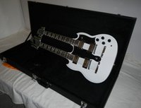 Wholesale Electric Double Neck Guitar - Wholesale- Free Shipping Double Neck 6 + 12 Strings EDS 1275 White Electric Guitar with Square Hard Case