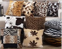 Wholesale Tiger Fabric Wholesale - Wholesale- Decorative Cushions Cover 43x43cm throw pillows Leopard Zebra tiger giraffe Velvet Fabric seat Home Chair- pillowcase Cover B46