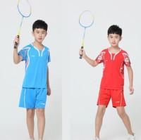 forro vermelho do terno azul venda por atacado-LiNing Crianças badminton Ternos, crianças Competição treinamento Jersey, Azul Vermelho de secagem rápida roupas esportivas, tênis de mesa camisas shorts XS-3XL