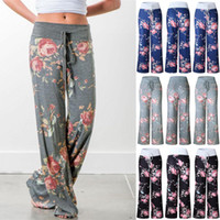 Wholesale High Waist Plus - yoga pants LADIES FLORAL YOGA PALAZZO TROUSERS WOMENS SUMMER WIDE LEG PANTS PLUS SIZE 6-20
