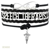 10 PCS / Lot) Infinity Love Speech Therapist Métal Charm Bracelets En cuir Suede Custom Tous les thèmes Drop Shopping