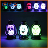 Wholesale Funny Heart Cartoons - Mini Funny LED Colorful Hallowmas Lantern Lamp Portable Hanging Night Light Pumpkin Witch Ghost Skull Light Halloween Gift