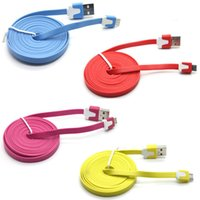 Wholesale 2m Flat Noodle Usb Apple - 1M 3FT 2M 6FT 3M 10FT Flat Charge Cord Noodle Micro USB 2.0 Cell Phone Data Cable For Samsung S7 S6 LG HTC Sony Blackberry Universial