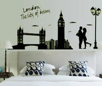 Wholesale 2017 New Wall Stickers Wallpaper Rolls Removable London Bridge Wall Decals Home decoration Sticker For Kids Room