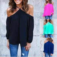 Wholesale Long Black Cardigan Ladies - Autumn European Ladies Fashion Sexy Shirt Tops For Women Blouse Woman Cardigans Tank Black Casual Hoodies red