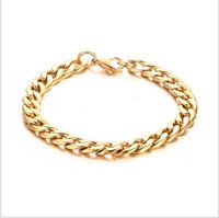 Wholesale Wholesale Metal Curb Chain - Metal Cuban Curb Link Chain Men's Bracelets Powerful Stainless Steel Rose Gold-plated Bracelet