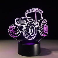 Wholesale Modern Kids Plastic Toys - 3D Tractor Night Light 3D LED USB 7 Color Change LED Table Lamp Xmas Toy Gift for kids