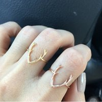 Wholesale Turkish Engagement Bands - Antlers Amulet Vintage Turkish Joint Knuckle Boho Rings Ethnic Midi Knuckle Stacking Ring 2 Colour (Gold And Silver)