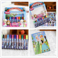 Wholesale Cartoon Paint Brushes - 12 colors set Water Color Pen+1pc DIY drawign book Dual Head Brush Marker Highlighter Colored Pen Stationery cartoon Markers kids gifts