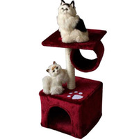 Wholesale safety toy online - Cat Climbing Frame Heigh Cat Safety Soft Cats Houses With Footprint Pattern Short Plush Pets Tree Toys New Arrival zf B