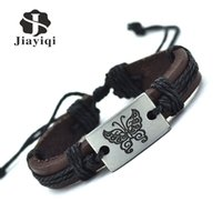 Wholesale Bracelet Vintage Butterfly - Wholesale-Jiayiqi 2016 Fashion Cuff Charm Classic Rope Leather Bracelets & Bangles Vintage Butterfly Bracelet For Women Jewelry