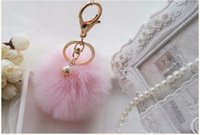 Wholesale Rabbit Key - Faux Rabbit Fur Ball Pompon Keychain Trinket Fluffy Pom Pom Pearl Key Chain Women Key Ring Holder For Bag Car Jewelry Gift