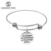 Wholesale inspirational gifts for women online - Inspirational Jewelry Coin With Letter Charms Love Bracelets For Women Stainless Steel Expandable Wire Bangle Bracelet Pulseiras