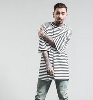 Wholesale Black White Striped Clothing - New arrival 2 colors spring and summer new tide brand men clothing loose printed cotton men short sleeve men T-Shirt