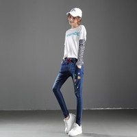 Wholesale Harem Jeans Sold - New Arrival Dark Blue Embroidered Jeans for Woman Drawstring Youth Harem Pant Leisure Baggy With Flower High Quality Hot Sell
