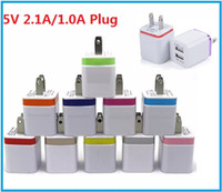 Wholesale I Port - Wall Chargers US Plug 5V 2.1A Dual USB Power Adapter 2 Port Charger Adapter for i Phone 6 5s pad air for Samsung
