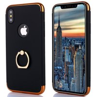 Wholesale Thin Metal Rings - 3 in 1 Case Luxury Brand For iPhone X 6 7 8 plus Case Hard Back Cover 360 Degree Protection With Ring Ultra Thin Slim Phone Cover For Note 8