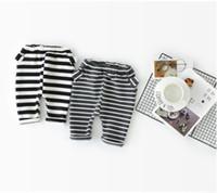 Wholesale Harem Velvet - INS Baby pants toddler kids rabbit ear cotton trousers winter baby girls boys stripe velvet thicken trousers Bebe PP pants R0257