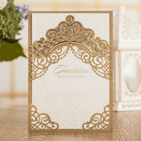 Wholesale Pearl Wedding Invitation Cards - Dark Brown Pearls Gold Crown Wedding Invitations Cards, By Wishmade, CW7511
