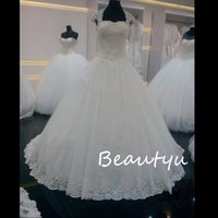 Wholesale Thick Lace Gowns - Real Photos Long Country Wedding Dress With Capped Sleeves Thick Appliques Beaded White Tulle A Line Bridal Gowns 2017 Vestido De Noiva