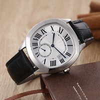 Wholesale Dress Winding - luxury brand fashion new watches for men white face black leather belt watch Drive de automatic see through watch men's dress wristwatches