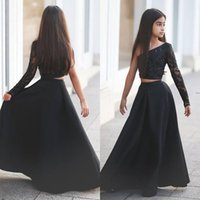 black sayings - Arabic Said Mhamad Black One Shoulder Long Sleeve Kids Prom Dresses A Line Two Piece Beaded Flower Girls Dresses