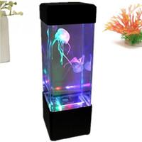 jellyfish tank al por mayor-Mesita de noche Lámpara de movimiento Lámpara de medusas Acuario LED Tanque Luz de noche de escritorio Mesita de noche Luz de noche para acuario