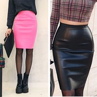 Frauen PU Faux Leder Bodycon Bleistift Tube Wrap Midi Röcke Herbst Winter High Taille zurück Split Tight Rock