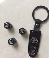 Wholesale Tire Key Chains - Toyota Leather Buckle Valve Cap Wheel Tyre Tire Valve Dust Stems Air Caps Cover + Wrench Key Chain 248 Color available