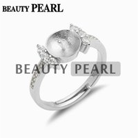 Wholesale Jewellry Rings - 5 Pieces Ring Settings for Pearls Zircon 925 Sterling Silver DIY Jewellry Findings Blank Ring Base