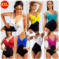 Wholesale European Style Swimsuits - Women One Piece Plus Size Patchwork Biniki Swimsuit Monokini Triangle Swimwear Swimsuits European Style 6 Colors M-4XXL ~CC