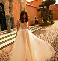 Wholesale Deep Slit Neckline - simple embroideried deep v neckline A-line bohemian wedding dresses 2018 liz martinez bridal chapel train wedding gowns