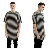 Wholesale Mens Swag Shirt Size M - Kanye West mens t shirts striped bottoming t shirt men hip hop tees swag t-shirt crew neck cotton extended plus size tees S-3XL