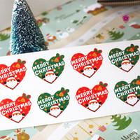 ingrosso biglietti da visita naturali all'ingrosso-Autoadesivi di Natale all'ingrosso-80pcs / lot Buon Natale autoadesivo adesivo di forma del cuore Contenitore di caramella carta di regalo decorazione Forniture di festa di festa
