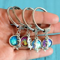 Wholesale Mermaid Key Chains - 2017 Fashion mermaids necklace key chain Resin Fish Scales pendants keychain best friends gifts key chain jewelry pendant Gift