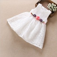Wholesale Summer Kids Dress Fashion - Hug Me Girls Dress Kids Clothing 2017 Spring Summer Flower Dress Fashion Sleeveless Bow Vest Princess Dress EC-051