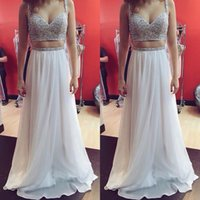 Wholesale New Chiffon China - New Fashion 2017 Beaded Spaghetti Top Chiffon Skirt Two Piece Prom Dresses Long Modest Party Gowns Custom Made China EF7067