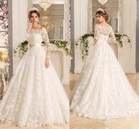 Wholesale Elegant See Dress - 2017 Elegant See Through Off-Shoulder Neck A Line Wedding Dresses Button Back Floor Length Lace Appliques Long Bridal Gowns Custom Made