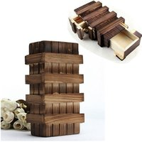 Wholesale Vintage Wooden Puzzles - Wholesale- Magic Toys Brain Magic Box Wooden Puzzle Wooden Box Secret Vintage Classic Trick Drawer Intelligence Developmental Baby Toy