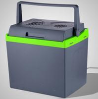 Wholesale Travelling Freezer - Wholesale- 25L Mini Car Fridge Cooler Warmer 2 in 1 Multi-function Travel Refrigerator Portable Electric Icebox Cooler Box Freezer 12 220V